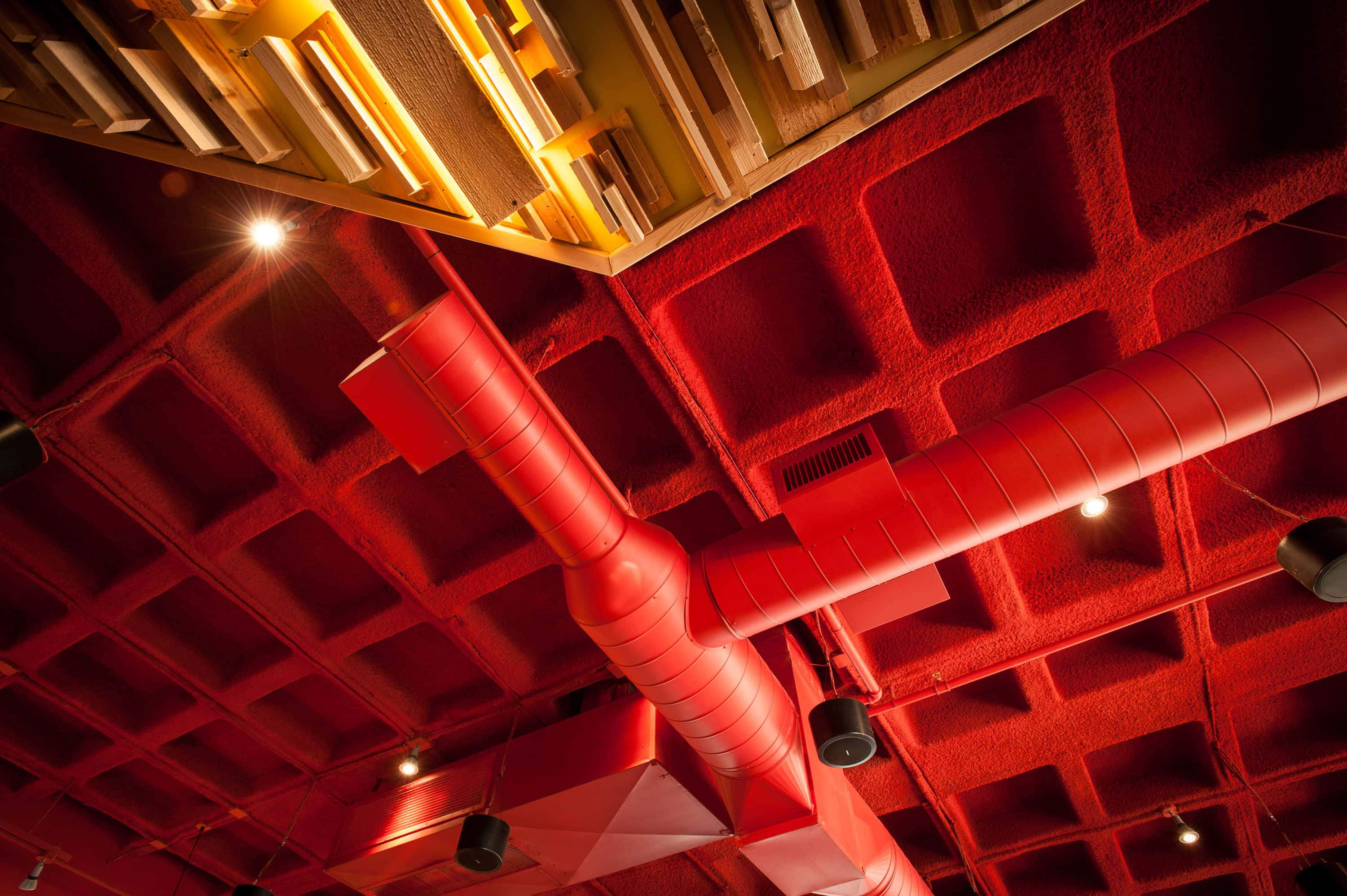 """Custom Color Red SonaSpray """"fc"""" on the ceiling in Spin Neapolitan Pizza restaurant"""